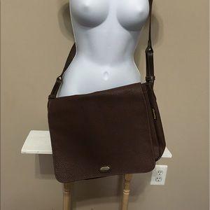 Brown Pebbled Leather Messenger Bag